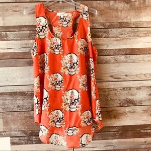 UMGEE orange floral & skull sleeveless shirt Lg